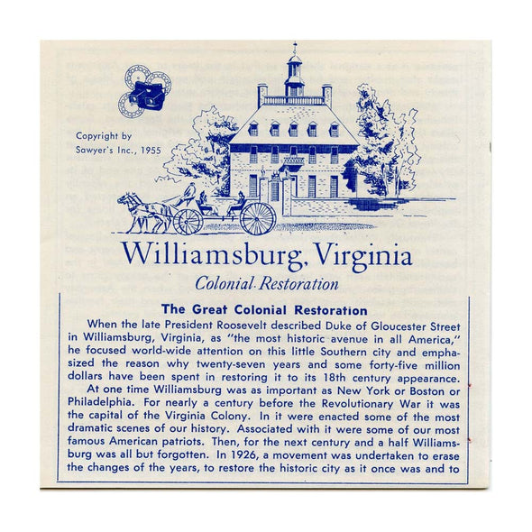 ViewMaster - Williamsburg Colonial Restoration - Vacationland Serie - Vintage - 3 Reel Packet - 1950s Views