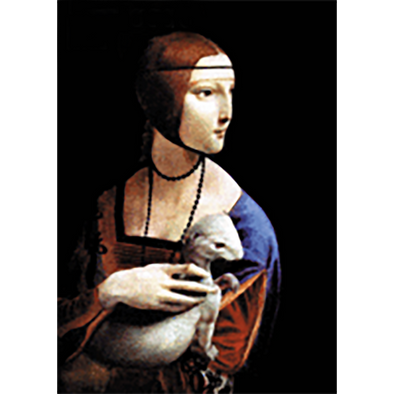 Leonardo da Vinci - Lady with an Ermine - 3D Lenticular Postcard Greeting Card