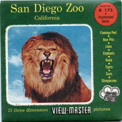 San Diego Zoo - A173 - Vintage Classic View-Master - 3 Reel Packet - 1950s views