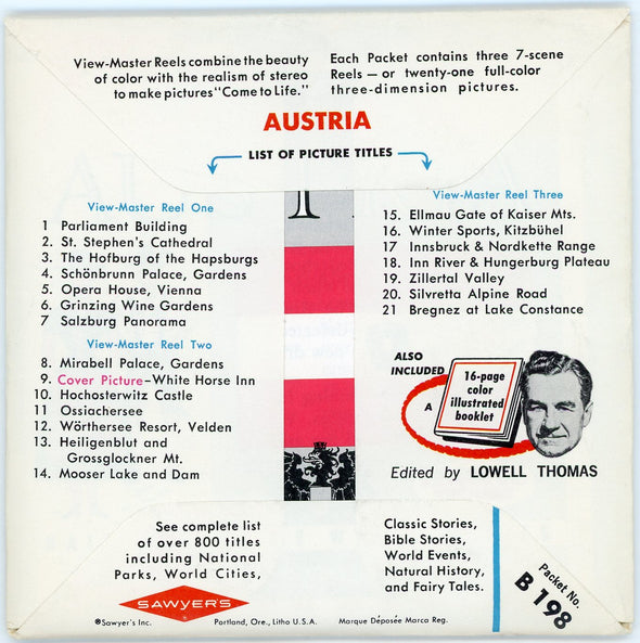 ViewMaster Austria - Vintage Classic - B198 - 3 Reel Packet - 1960s views