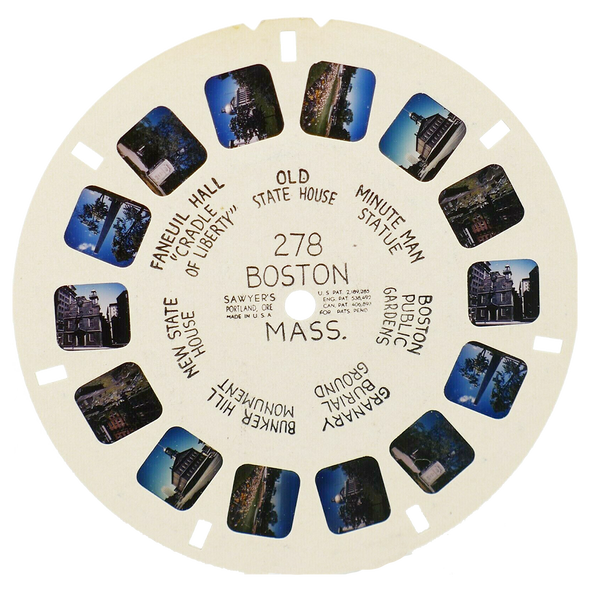 Viewmaster white hand-lettered reel 278 Boston Mass