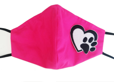Pink Embroidered Paw in Heart 100% Cotton Triple Layer Face Mask w/ pocket for filter and nose plate