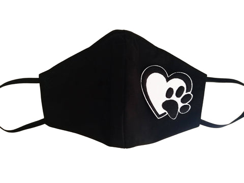 Black Triple Layer Embroidered Paw print in heart Face Mask w/ pocket for filter and nose plate 100% cotton