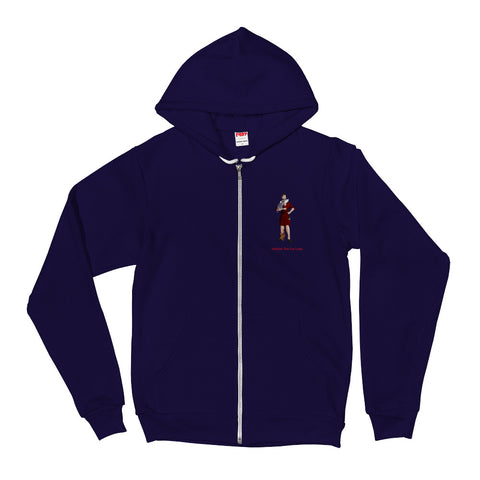 Little Cat Lady Zip Up Hoodie (Red Robe)