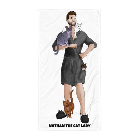 Nathan the Cat Lady Beach Towel (Grey Robe)