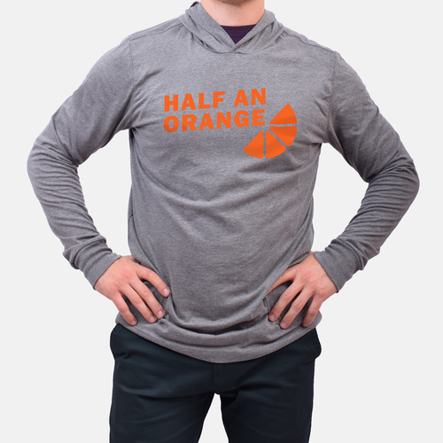 Orange Slice Hooded T-Shirt - Gray
