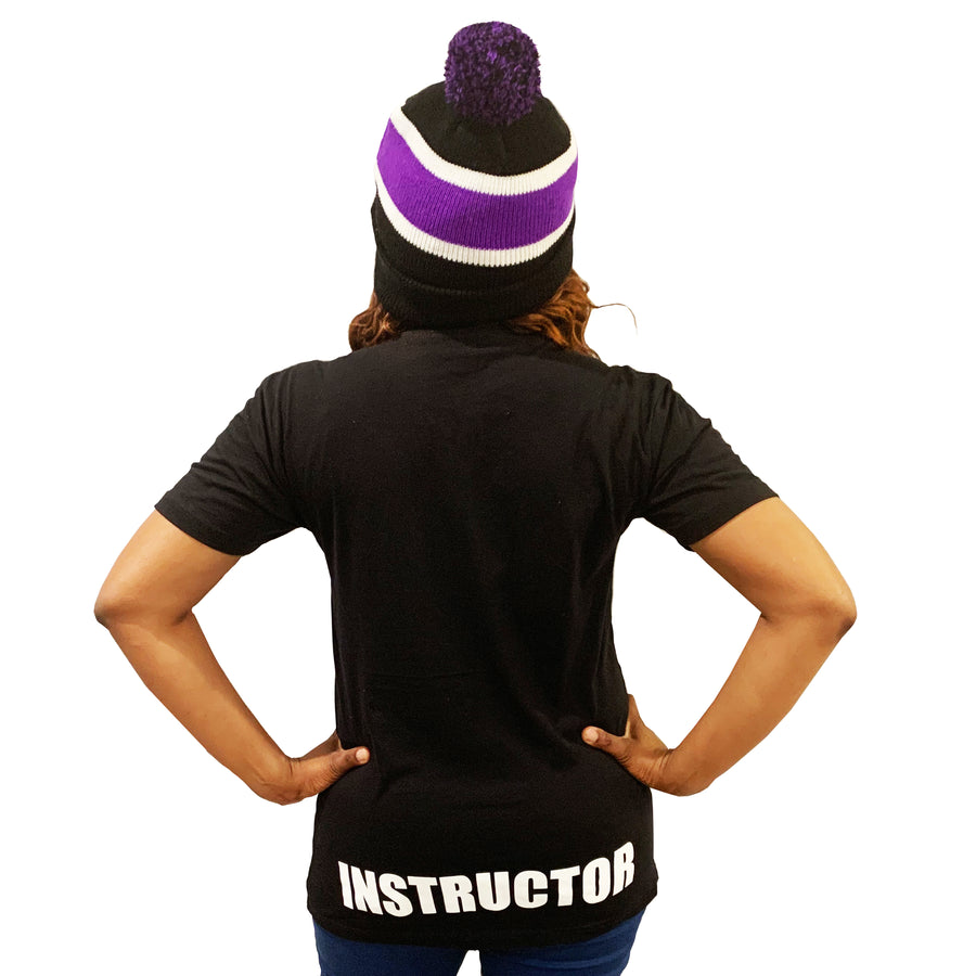 BLACK INSTRUCTOR T-SHIRT W/ PURPLE MARK & WHITE LOGO