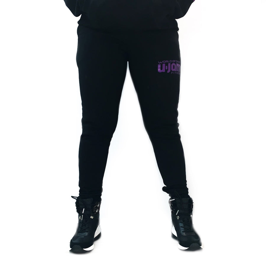 Black Unisex Tapered Slim Fit Track Pants W/ Purple Screen Printed Logo
