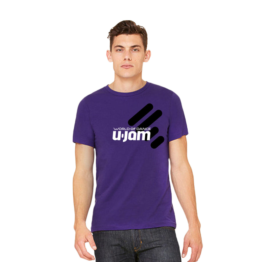 UNITY PURPLE TEE WITH BLACK UNITY MARK AND WHITE WORLD OF DANCE U-JAM LOGO