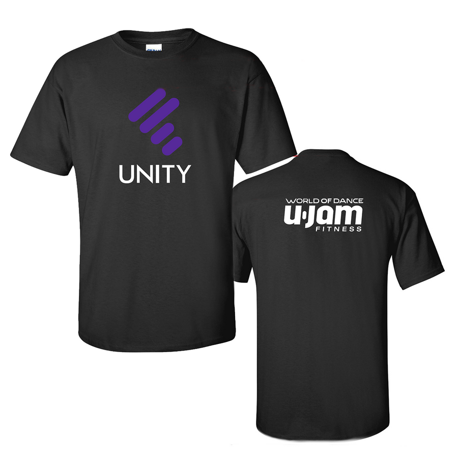 BLACK PREMIUM T-SHIRT W/ PURPLE UNITY MARK & WHITE UNITY & WHITE LOGO ON BACK