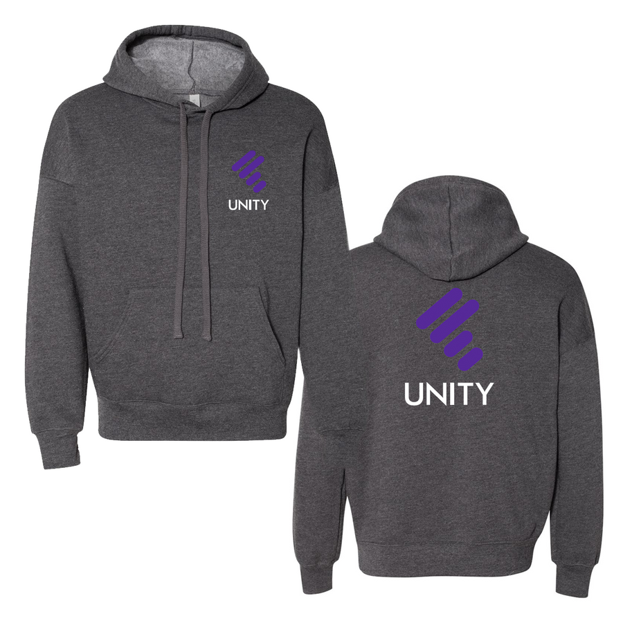 DARK GREY HEATHER UNISEX HOODY W/ PURPLE UNITY MARK & WHITE UNITY