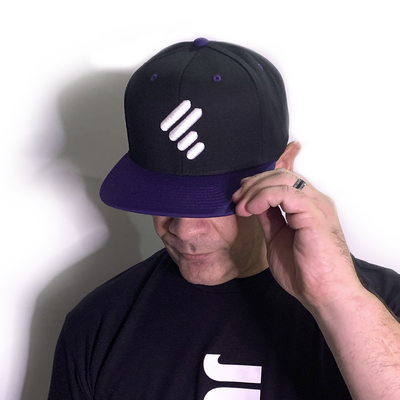 BLACK HAT W/ PURPLE FLAT BILL W/ WHITE UNITY MARK & WHITE WOD U-JAM LOGO
