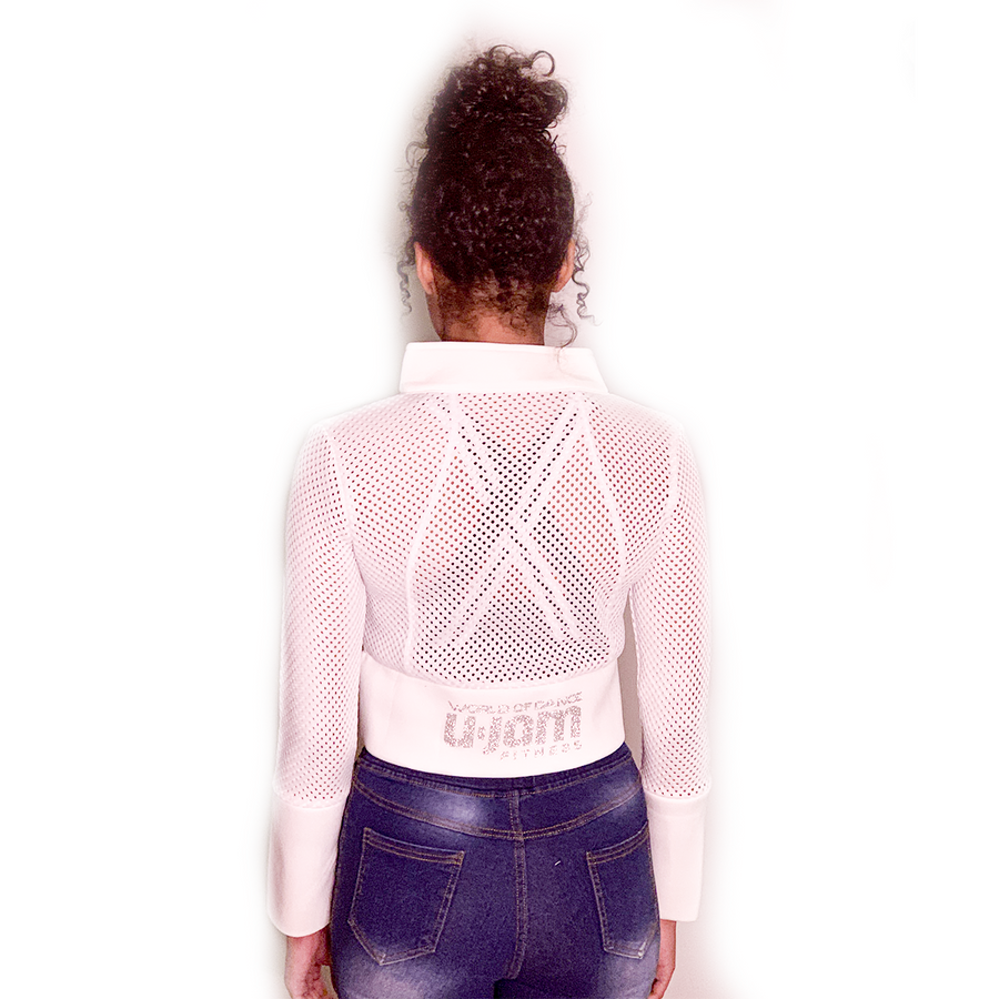 WHITE CROPPED SCUBA & MESH JACKET W/ SILVER GLITTER UNITY MARK & WOD U-JAM LOGO ON BACK