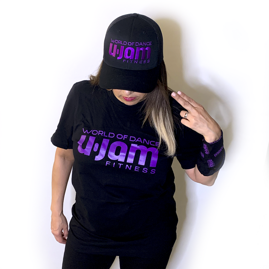 BLACK UNISEX T-SHIRT W/ PURPLE WORLD OF DANCE U-JAM LOGO