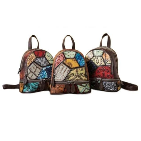 Psychedelic Splice Embossed Leather Backpack