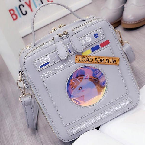 Cute Unicorn In A Washing Machine Psychedelic Handbag
