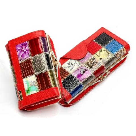 Luxury 3 Fold Stitching Patchwork Leather Wallet