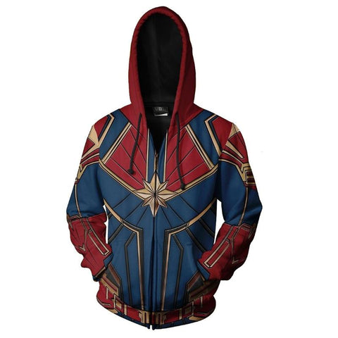 Marvel Comics Avengers Captain Marvel Superhero Zipper Hoodie