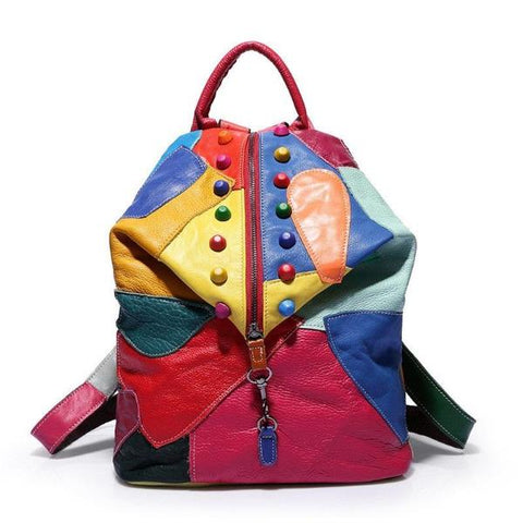 Psychedelic Sewing Patchwork Studded Leather Backpack