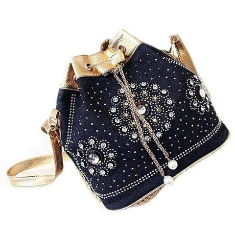 Luxury Crystals And Rhinestones Denim Drawstring Handbag