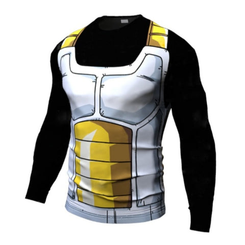 Vegeta Black Battle Suit Long Sleeve Compression Shirt