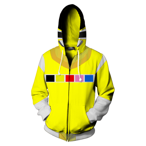 Power Rangers In Space Yellow Ranger Cosplay Zipper Hoodie