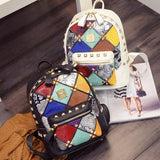 Punk Style Patchwork Designer Leather Backpack
