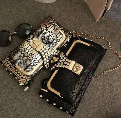 Luxury Diamonds Studded Serpentine Patterned Leather Handbag