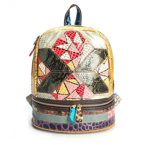 Geometric Patchwork Psychedelic Leather Backpack