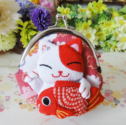 Cute Japanese Silk Lucky Cat Maneki Neko Coin Purse