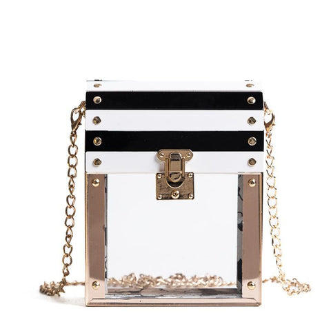 Luxury Transparent Striped Party Handbag