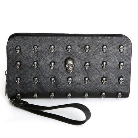 Exquisite Gothic Skull Studded Long Wallet