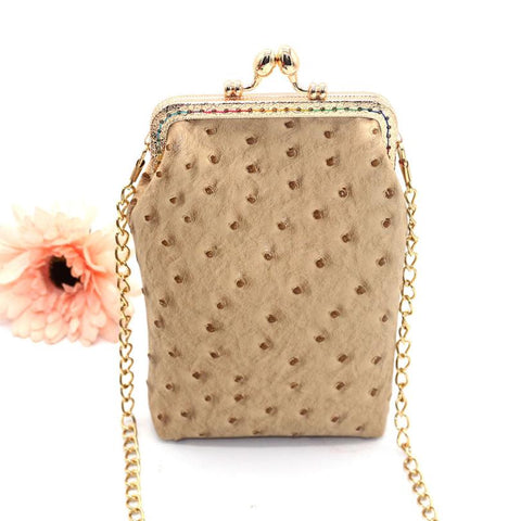Luxury Ostrich Patterned PU Leather Handbag