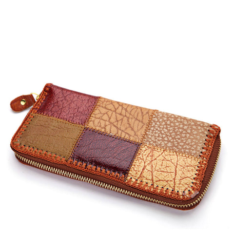 Stitching Patchwork Leather Wallet
