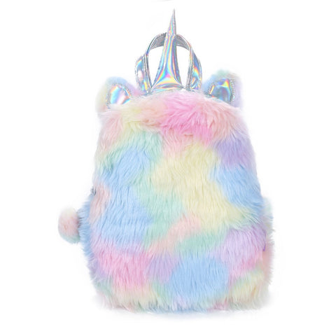 Psychedelic Hologram Unicorn Plush Backpack