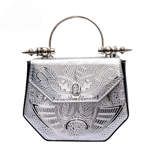 Luxury Metallic PU Leather Hanna Print Embossed Handbag