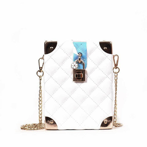 Luxury Quilted PU Leather Flower Metal Buckle Handbag
