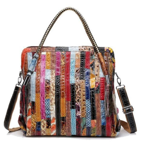 Panelled Multi-Color Serpentine Patterned Leather Handbag