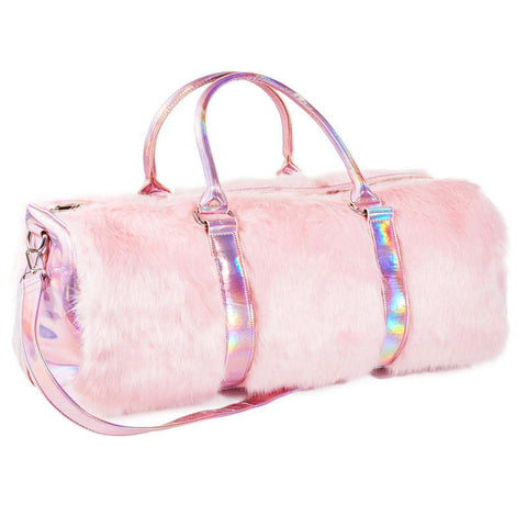 Psychedelic Pink Furry Hologram Travel Handbag
