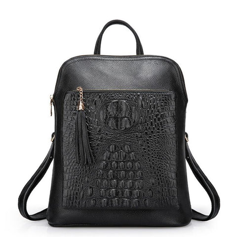 Luxury Alligator Embossed Leather Backpack