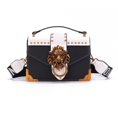 Luxury Leather Lion Emblem Handbag