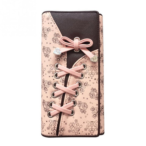 Cute Bow Knot Shoe Lace Long Wallet