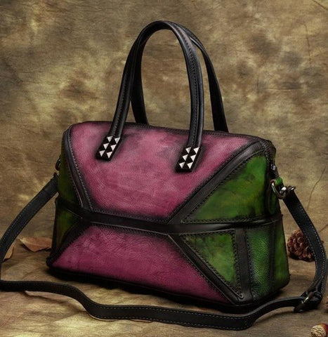 Vintage Handmade Patchwork Leather Handbag