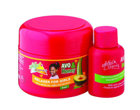 Sofnfree avo & honey relaxer for girls super  125ml + 60ml neutralising shampoo
