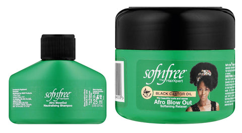 Sofnfree Black  castor  oil afro  blowout relaxer  125ML + afro blowout neutralising shampoo 25ML  12-Pack