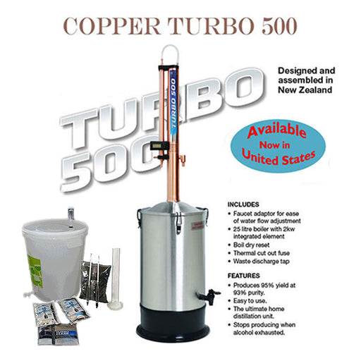 Turbo 500 COPPER Distillation Kit with FREE SHIPPING