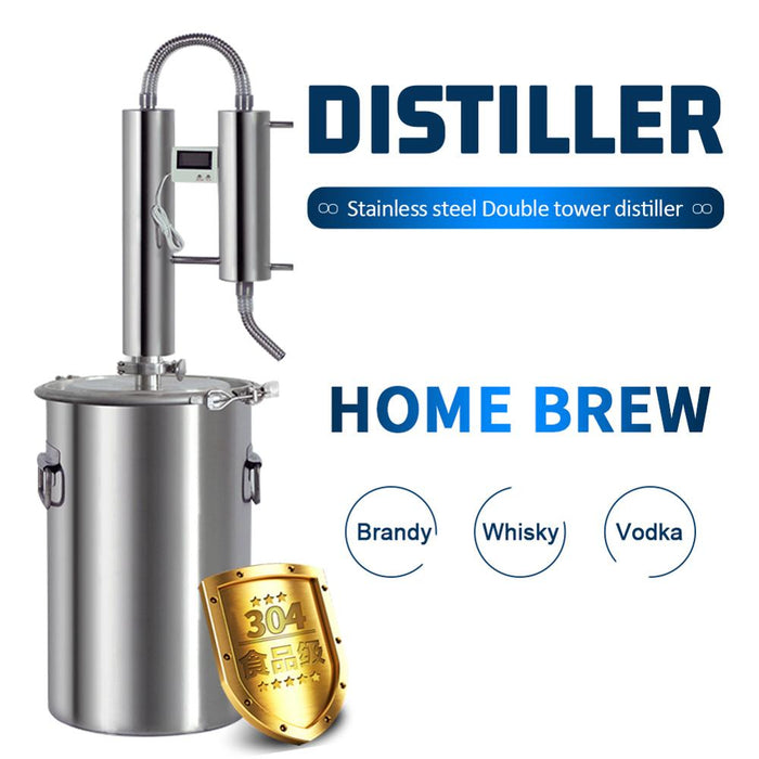 NEW: DOUBLE-D STILL 12L/20L/35L/60L (3/6/9/15 Gallon) Stainless Steel Double Tower Moonshine Alcohol Still Home Distillery