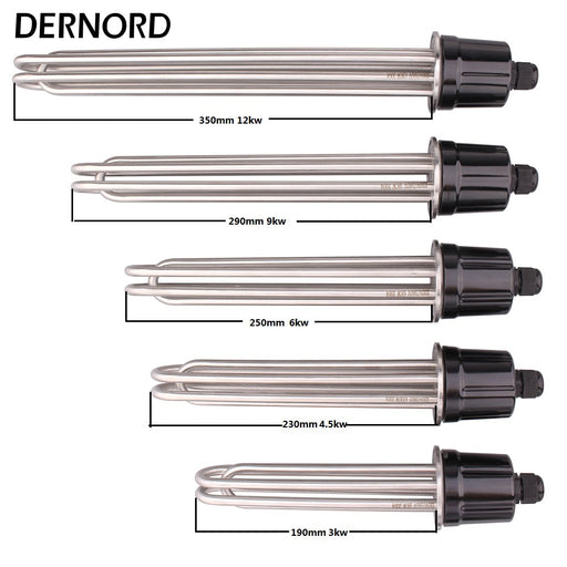 "DERNORD 220V/380V 2""tri clamp 64mm Flange Power 3KW/4.5KW/6KW/9KW/12KW SUS304 Brewing Heating Element"