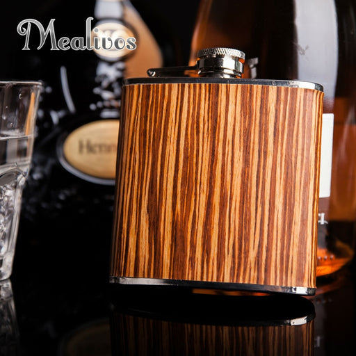 Mealivos 6 oz wooden wrapped 304 stainless steel hip flask liquor flagon whisky vodka alcohol bottle gift drinkware jagermeister