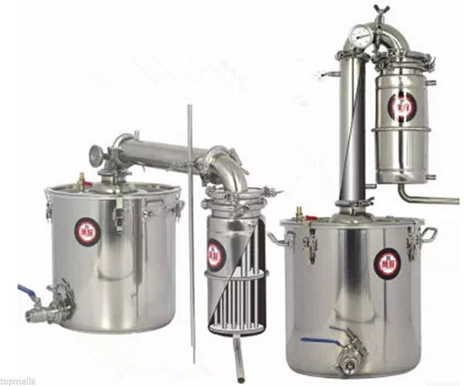 50L Liters 13 Gal Transformer Wine Maker Brew Alcohol Distiller Household Stainless Steel Moonshine Still
